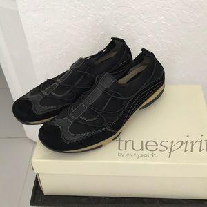 Easy Spirit Black Multi Suede Sz 9 1/2 M Sneakers
